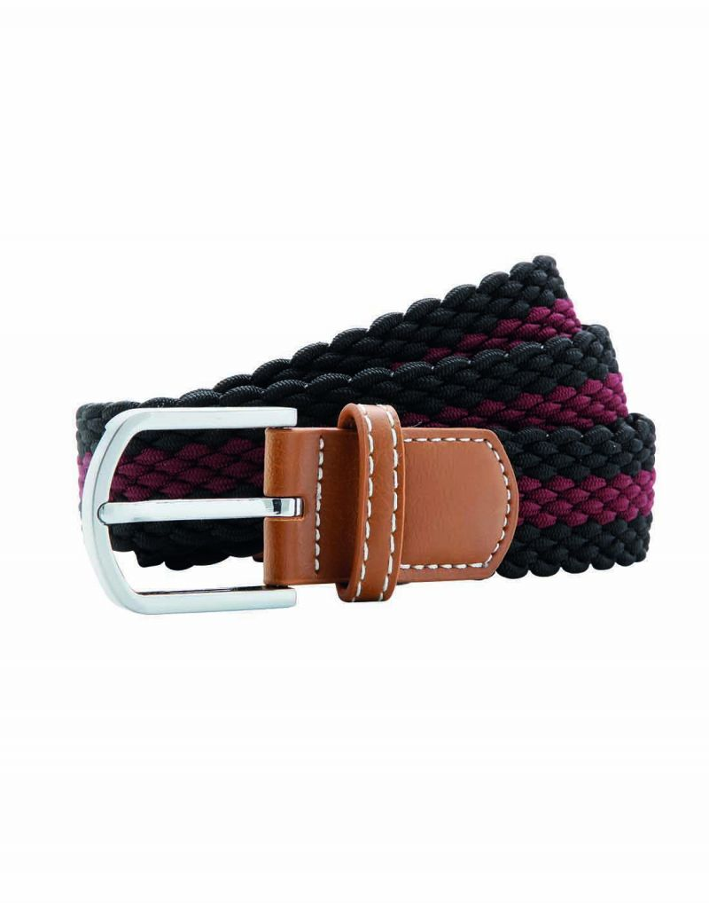 Klassic Two Colour Stripe Braid Stretch Belt