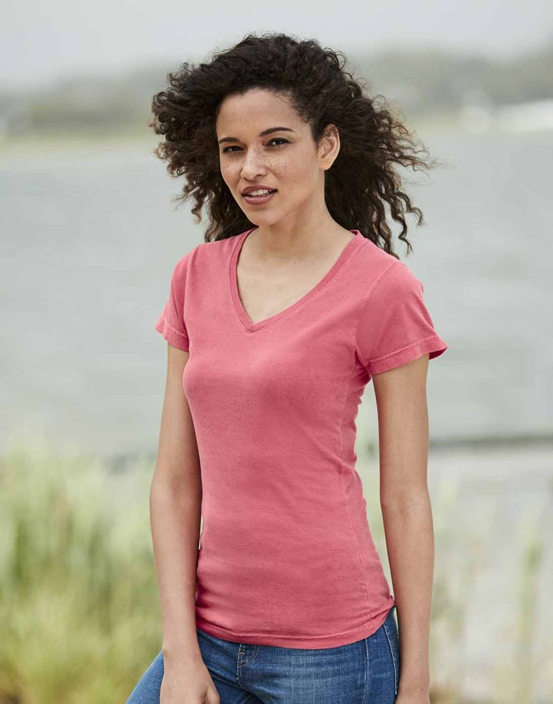 Klassic COMFORT COLORS Ladies Midweight V-neck T-shirt