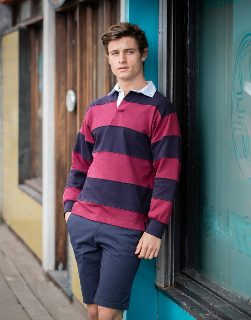Klassic Sewn Stripe Long Sleeve Rugby Shirt