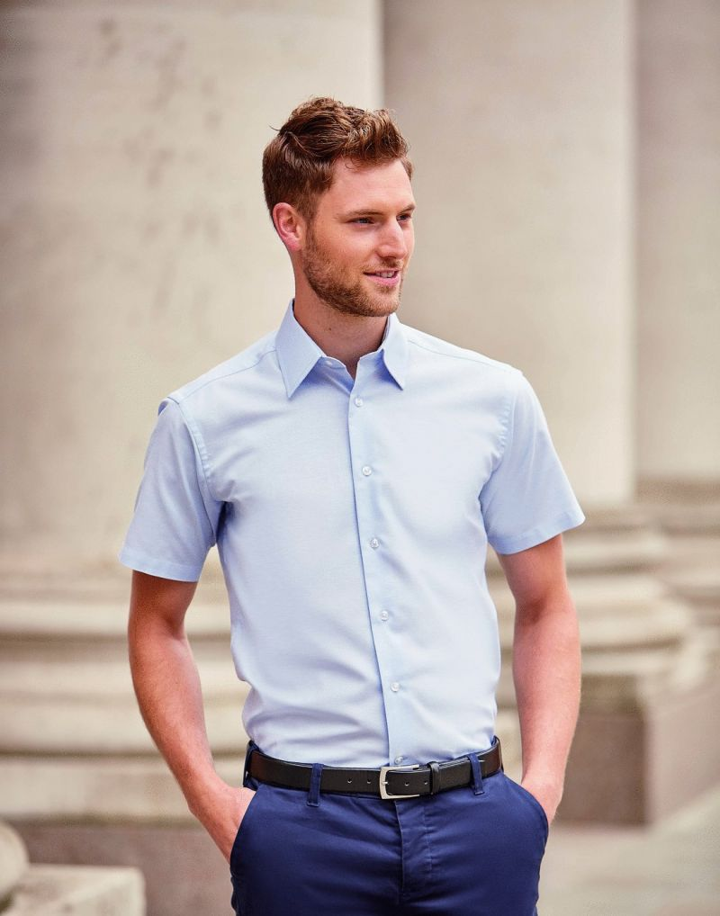 Klassic Mens Short Sleeve Easy Care Tailored Oxford Shirt